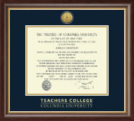 Columbia University Diploma Frame - Gold Engraved Medallion Diploma Frame in Hampshire