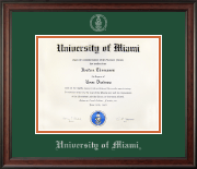 University of Miami Diploma Frame - Silver Embossed Diploma Frame in Studio