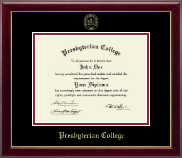 Presbyterian College Diploma Frame - Gold Embossed Diploma Frame in Gallery