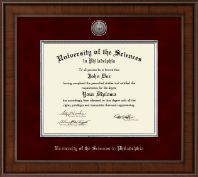 University of the Sciences in Philadelphia Diploma Frame - Presidential Silver Engraved Diploma Frame in Madison