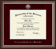 University of the Sciences in Philadelphia Diploma Frame - Silver Engraved Medallion Diploma Frame in Devonshire