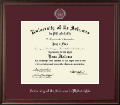 University of the Sciences in Philadelphia Diploma Frame - Silver Embossed Diploma Frame in Studio