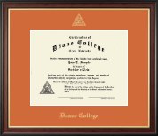 Doane College Diploma Frame - Gold Embossed Diploma Frame in Studio Gold