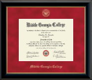 Middle Georgia College Diploma Frame - Gold Embossed Diploma Frame in Onyx Gold
