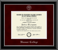 Vassar College Diploma Frame - Silver Embossed Diploma Frame in Onyx Silver