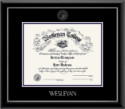 Wesleyan College Georgia Diploma Frame - Silver Embossed Diploma Frame in Onyx Silver