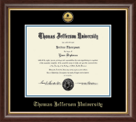 Thomas Jefferson University Certificate Frame - Gold Engraved Medallion Certificate Frame in Hampshire