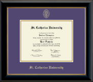St. Catherine University Diploma Frame - Gold Embossed Diploma Frame in Onyx Gold