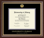 State University of New York  Albany Diploma Frame - Gold Engraved Medallion Diploma Frame in Hampshire