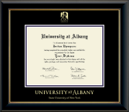 State University of New York  Albany Diploma Frame - Gold Embossed Diploma Frame in Onyx Gold