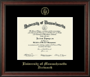 University of Massachusetts Dartmouth Diploma Frame - Gold Embossed Diploma Frame in Studio