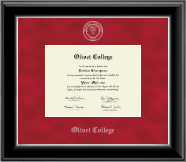 Olivet College Diploma Frame - Silver Embossed Diploma Frame in Onyx Silver