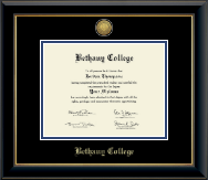 Bethany College in Kansas Diploma Frame - Gold Engraved Medallion Diploma Frame in Onyx Gold