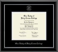 Our Lady of Holy Cross College Diploma Frame - Silver Embossed Diploma Frame in Onyx Silver
