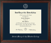 Saint Mary-of-the-Woods College Diploma Frame - Silver Embossed Diploma Frame in Studio