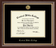 Central Bible College Diploma Frame - Gold Engraved Medallion Diploma Frame in Hampshire