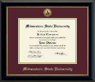 Midwestern State University Diploma Frame - Gold Engraved Medallion Diploma Frame in Onyx Gold