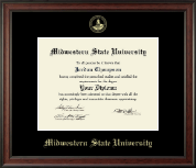 Midwestern State University Diploma Frame - Gold Embossed Diploma Frame in Studio