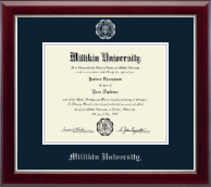 Millikin University Diploma Frame - Silver Embossed Diploma Frame in Gallery Silver