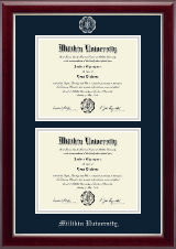 Millikin University Diploma Frame - Double Diploma Frame in Gallery Silver