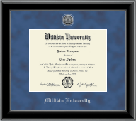 Millikin University Diploma Frame - Silver Engraved Medallion Diploma Frame in Onyx Silver