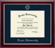 Drake University Diploma Frame - Silver Embossed Diploma Frame in Gallery Silver