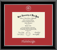 Plattsburgh State University Diploma Frame - Silver Embossed Diploma Frame in Onyx Silver