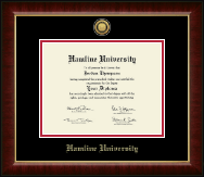 Hamline University Diploma Frame - Gold Engraved Medallion Diploma Frame in Murano