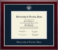 University of Nevada Reno Diploma Frame - Silver Embossed Diploma Frame in Gallery Silver