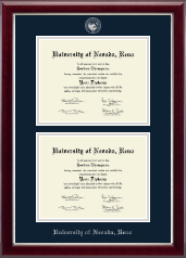 University of Nevada Reno Diploma Frame - Double Diploma Frame in Gallery Silver
