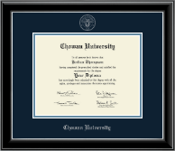 Chowan University Diploma Frame - Silver Embossed Diploma Frame in Onyx Silver
