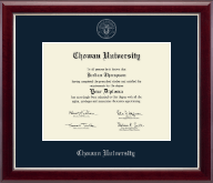 Chowan University Diploma Frame - Silver Embossed Diploma Frame in Gallery Silver