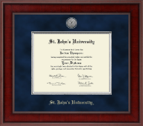 St. John's University, New York Diploma Frame - Presidential Silver Engraved Diploma Frame in Jefferson