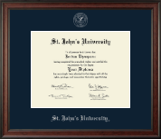 St. John's University, New York Diploma Frame - Silver Embossed Diploma Frame in Studio