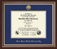 San Jose State University Diploma Frame - Gold Engraved Medallion Diploma Frame in Hampshire