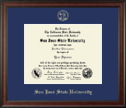 San Jose State University Diploma Frame - Gold Embossed Diploma Frame in Studio