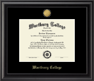 Wartburg College Diploma Frame - 23K Medallion Diploma Frame in Midnight
