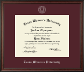 Texas Woman's University Diploma Frame - Silver Embossed Diploma Frame in Studio