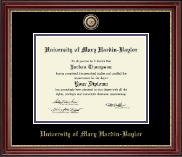 University of Mary Hardin Baylor Diploma Frame - Masterpiece Medallion Diploma Frame in Kensington Gold