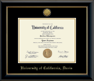 University of California Davis Diploma Frame - Gold Engraved Medallion Diploma Frame in Onyx Gold
