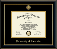 University of Colorado Boulder Diploma Frame - Gold Engraved Medallion Diploma Frame in Onyx Gold