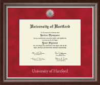 University of Hartford Diploma Frame - Silver Engraved Medallion Diploma Frame in Devonshire