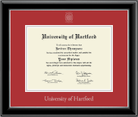 University of Hartford Diploma Frame - Silver Embossed Diploma Frame in Onyx Silver