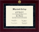 Wheelock College Diploma Frame - Millennium Gold Engraved Diploma Frame in Cordova