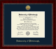 University of Pittsburgh Diploma Frame - Gold Engraved Medallion Diploma Frame in Sutton