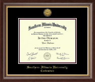 Southern Illinois University Carbondale Diploma Frame - Gold Engraved Medallion Diploma Frame in Hampshire