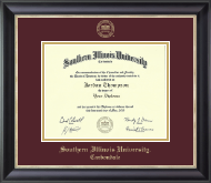 Southern Illinois University Carbondale Diploma Frame - Gold Embossed Diploma Frame in Noir