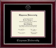 Chapman University Diploma Frame - Silver Embossed Diploma Frame in Gallery Silver