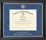 National Registry of Emergency Medical Technicians Certificate Frame - Masterpiece Medallion Certificate Frame in Noir