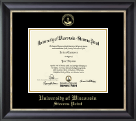 University of Wisconsin Stevens Point Diploma Frame - Gold Embossed Diploma Frame in Noir